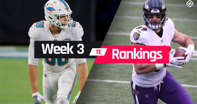 Fantasy TE Rankings Week 3: Who to start, sit at tight end in fantasy football